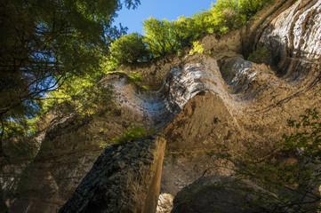 Shakuranskiy waterfall in green tropical forest in Abkhazia.