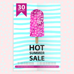 summer sale flyer with ice cream and stripes