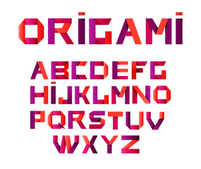 Vector colorful alphabet made of overlapping shapes.