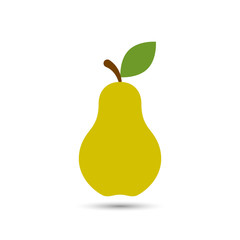 Pear icon vector, color flat fruit illustration.