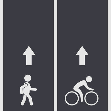 Bicycle and pedestrian paths illustration, vector. Walking path and bike path with arrow.