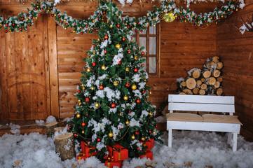 christmas tree in studio decoration snow