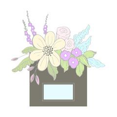 Box Flower Arrangement. Vector illustration.