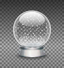 Snow Globe vector illustration. Empty snowglobe. Crystal 3d Sphere. Transparent glass ball. New Year gift template