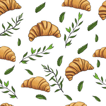 croissant mint green pattern