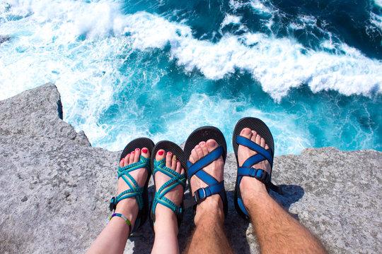 Hiking Feet and Ocean Waves