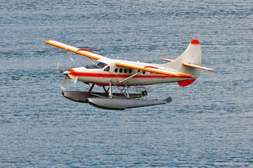 A seaplane takes off