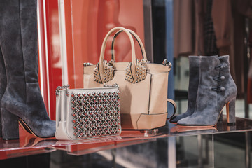 Shoes and purses in a luxury store Wall mural