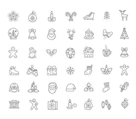 Line Holiday Christmas Icons Set. Vector Set of 42 New Year Holiday Modern Line Icons for Web and Mobile. Winter Season Icons Collection