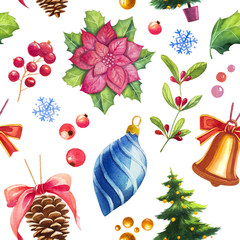 Christmas seamless pattern. Watercolor illustrations.