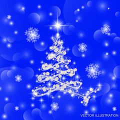 Christmas tree vector illustration.