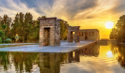 Sunset over the The Temple of Debod in Madrid, Spain