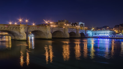 Paris, France: the old town at night