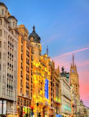 Gran Via in the evening - Madrid, Spain