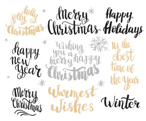 Set of winter hand drawn phrases.