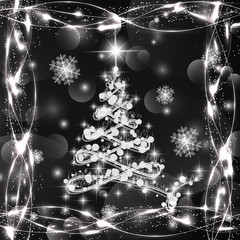 Christmas tree in white and black colors with lights and snowflakes. Illustration.