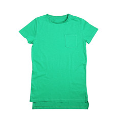 Blank green t-shirt on white background