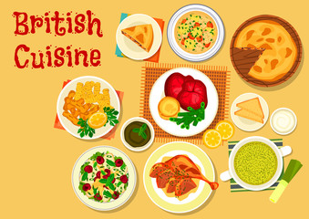 British cuisine fish and meat dishes icon