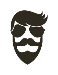 face of men with beard and wearing sunglasses over white background. hipster style. vector illustration