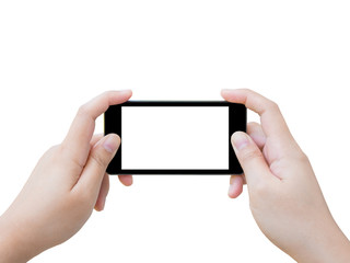 Hand holding smart phone taking photo isolated on white backgrou