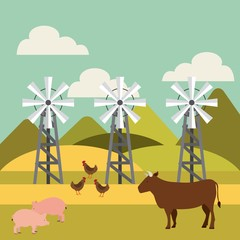 cow, pigs and chickens in farm landscape. colorful design. vector illustration