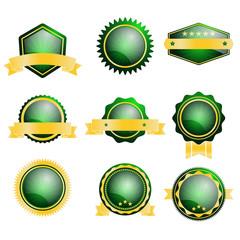 set of blank green badge label