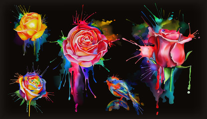 Watercolor roses, set of vector flowers icon on black