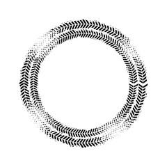 black wheels prints in circle shape over white background. vector illustration