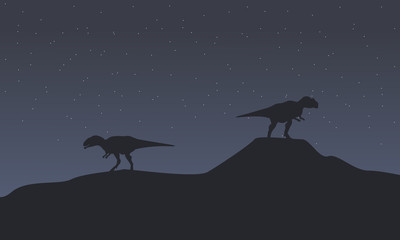 Two mapusaurus at night scenery