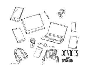 Modern society devices illustration doodle. Smart phone, watch,