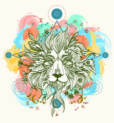Lion color tattoo art vector. Lion head tattoo design
