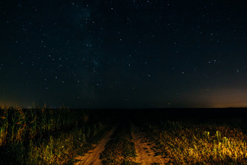 Night field with sky and stars