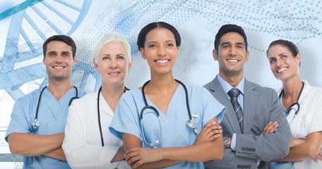 Composite image of confident medical team looking away