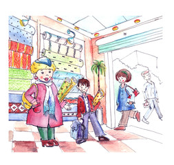 Watercolor picture illustration on the theme of people in the store wallpaper. Family, woman, boy, make a purchase.