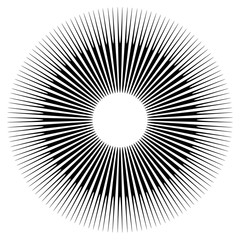Abstract circular element, radial lines shape. Geometric element