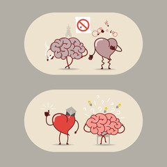 The brain and heart set. Smoking is bad, a heart attack. The brain is looking for answers but the heart knows. Vector cartoon icons