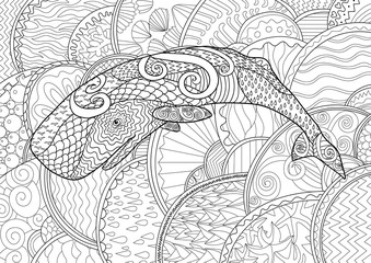 Swimming whale for anti stress Coloring