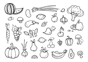 Fresh vegetables and fruit vector doodle icons. healthy eating hand drawn menu elements