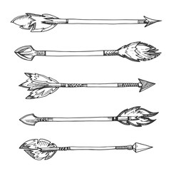 Tribal indian arrows. Vector hand drawn decorative elements in boho style
