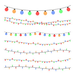 Christmas holiday garland lights in flat style vector set