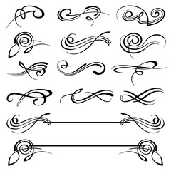 Calligraphy swirls ornate flourish vector decoration set