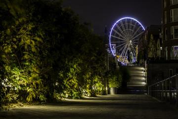 Riesenrad am alten Hafen in Düsseldorf bei Nacht