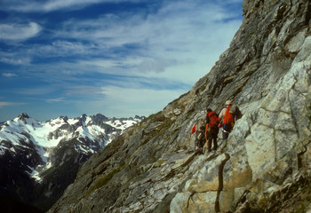 Climbers traversing Mt Formidable