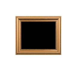 Vintage black gold frame on the white isolated background
