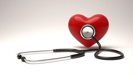 Heart health care concept background.Heart and stethoscope.
