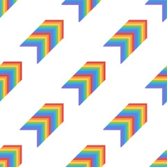 Creative seamless pattern background with abstract rainbow diagonal arrows.