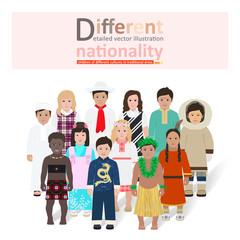 little kids of different nationalities vector