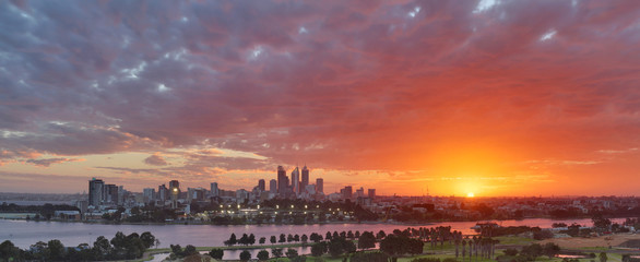 Sunset Glow over Perth Skyline