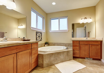 Bathroom interior with two vanities and bathtub