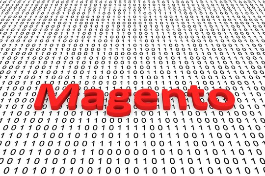 Magento in the form of binary code, 3D illustration